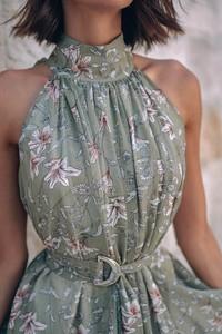 Zielona sukienka Popatu bez rękawów mini
