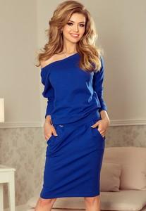 Niebieska sukienka NUMOCO z dresówki z długim rękawem