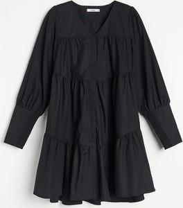 Sukienka Reserved w stylu casual z bawełny z długim rękawem
