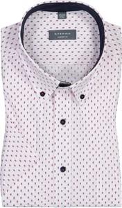 Koszula Eterna z bawełny z krótkim rękawem z kołnierzykiem button down