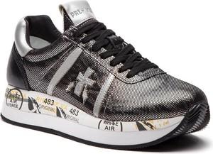 Srebrne buty sportowe Premiata na platformie