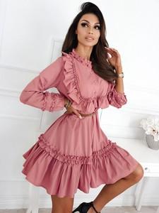 Różowa sukienka Infinityfashion.pl z bawełny mini w stylu casual