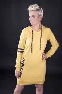 Żółta sukienka UNICUT z długim rękawem z dzianiny