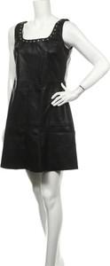 Czarna sukienka Mango ze skóry mini