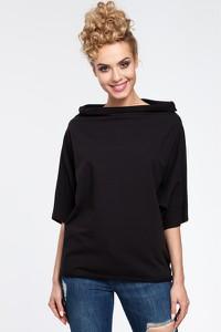 Czarna bluzka MOE z krótkim rękawem z dzianiny z okrągłym dekoltem