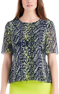 Bluzka POTIS & VERSO z okrągłym dekoltem z krótkim rękawem z szyfonu