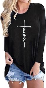 Czarna bluzka Sandbella z długim rękawem z okrągłym dekoltem