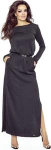 Niebieska sukienka Bergamo z długim rękawem maxi