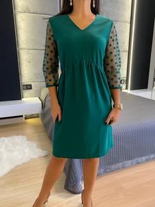 Zielona sukienka ModnaKiecka.pl w stylu casual z tkaniny mini