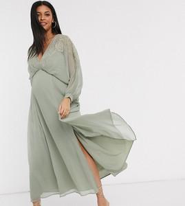 ASOS DESIGN Maternity – Sukienka maxi z gniecionego szyfonu z haftowaną górą-Wielokolorowy