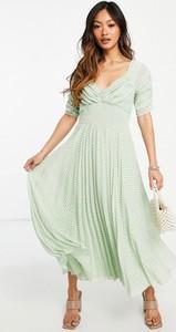 Sukienka Asos z tkaniny z dekoltem w kształcie litery v