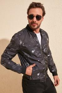 Granatowy płaszcz męski Trendyol w młodzieżowym stylu