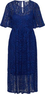 Granatowa sukienka Vila z krótkim rękawem midi