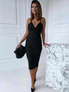 Czarna sukienka Versada midi ołówkowa z dekoltem w kształcie litery v