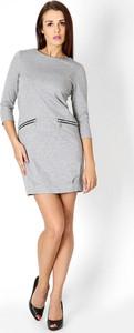 Sukienka sukienki.pl z tkaniny z długim rękawem z okrągłym dekoltem