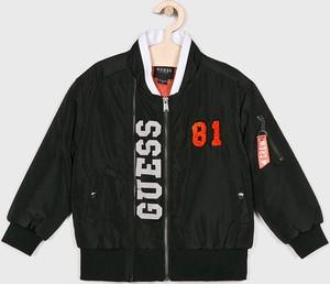 Czarna kurtka dziecięca Guess Jeans z tkaniny