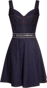 Niebieska sukienka Dolce & Gabbana na ramiączkach z bawełny