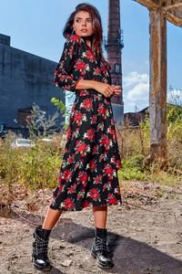 Sukienka Awama koszulowa z długim rękawem w stylu casual