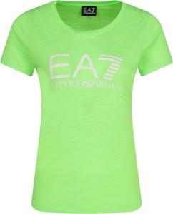 Zielony t-shirt EA7 Emporio Armani z krótkim rękawem