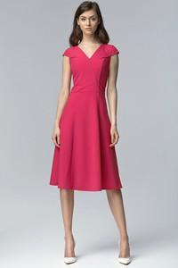 Sukienka NIFE z dekoltem w kształcie litery v z krótkim rękawem