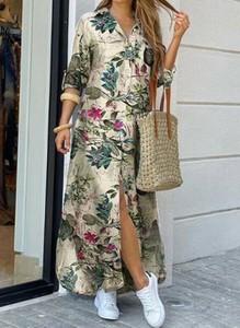 Sukienka Cikelly z długim rękawem koszulowa maxi
