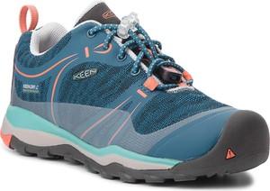 Niebieskie buty trekkingowe dziecięce Keen sznurowane