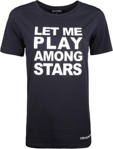 Granatowy t-shirt Emporio Armani z tkaniny w młodzieżowym stylu