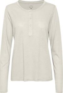 Bluzka Cream z okrągłym dekoltem w stylu casual