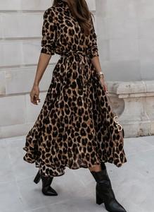Brązowa sukienka Cikelly z długim rękawem maxi