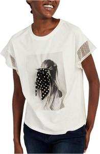 Bluzka Naf naf z nadrukiem z okrągłym dekoltem z bawełny