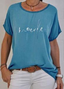 Niebieski t-shirt Sandbella z bawełny z krótkim rękawem