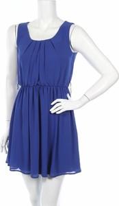 Niebieska sukienka Iz Byer z okrągłym dekoltem bez rękawów rozkloszowana
