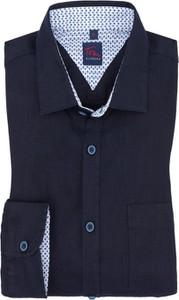 Granatowa koszula Tom Rusborg z długim rękawem