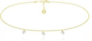 Lian Art Srebrny naszyjnik Choker z kryształkami Swarovski® - 6mm 24k złocenie