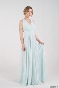 Niebieska sukienka Rokado maxi z dekoltem w kształcie litery v