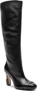 Czarne kozaki Stuart Weitzman ze skóry w stylu glamour na obcasie