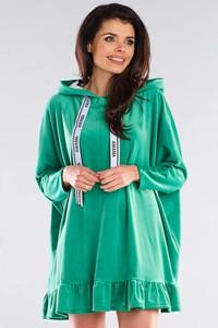Zielona sukienka Awama z okrągłym dekoltem z długim rękawem