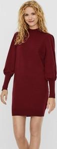 Czerwona sukienka WARESHOP z bawełny z długim rękawem z golfem