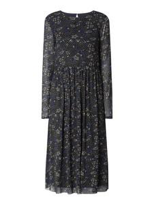 Granatowa sukienka Esprit z długim rękawem z okrągłym dekoltem midi