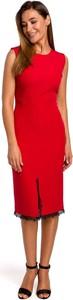 Czerwona sukienka Merg bez rękawów midi