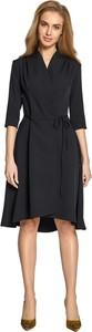 Czarna sukienka Style midi z dekoltem w kształcie litery v