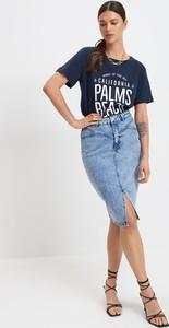 Granatowy t-shirt Mohito z okrągłym dekoltem