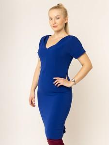 Niebieska sukienka Persona by Marina Rinaldi midi z krótkim rękawem z dekoltem w kształcie litery v