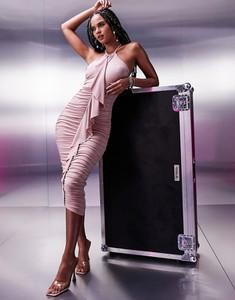 Sukienka Asos midi z długim rękawem