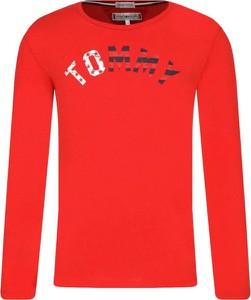 Czerwona bluzka dziecięca Tommy Hilfiger z długim rękawem