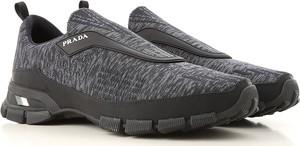 Czarne buty sportowe Prada w młodzieżowym stylu sznurowane