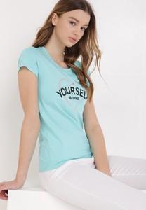 Niebieska bluzka born2be z okrągłym dekoltem z bawełny