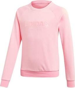 Różowa bluza dziecięca Adidas Performance z bawełny