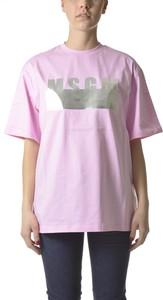 Różowy t-shirt MSGM z krótkim rękawem z bawełny z okrągłym dekoltem