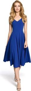 Niebieska sukienka MOE z dekoltem w kształcie litery v midi